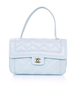 Chanel Quilted Top Flap Leather Contrast Baguette