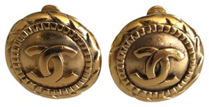 Chanel Chanel CC Clip-on Earrings Gold-tone