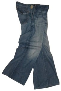 AG Adriano Goldschmied Flat Front Sailor Fit Sailor Style Trouser/Wide Leg Jeans-Distressed