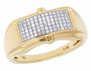 Jewelry Unlimited Men's 6 Rows Pave Round Genuine Diamond Band Ring 10k Yellow Gold 1/5
