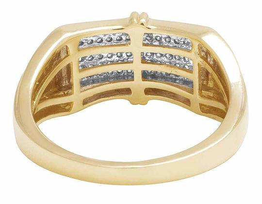 Jewelry Unlimited Men's 6 Rows Pave Round Genuine Diamond Band Ring 10k Yellow Gold 1/5 Image 2