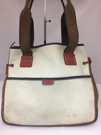 Hogan Nylon Leather Silver Hardware Tote in ivory, tan, burnt red Image 1