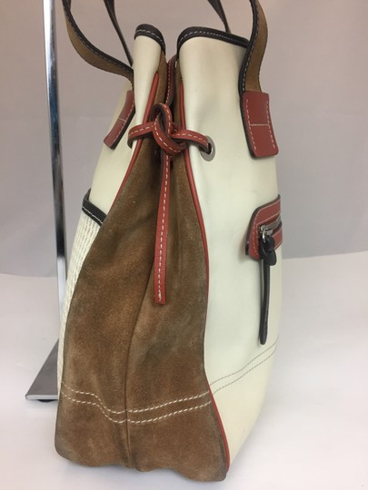 Hogan Nylon Leather Silver Hardware Tote in ivory, tan, burnt red Image 2
