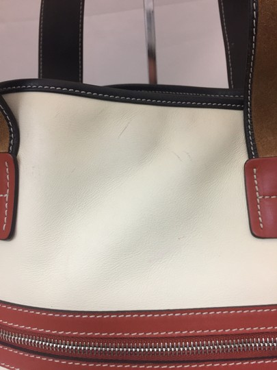 Hogan Nylon Leather Silver Hardware Tote in ivory, tan, burnt red Image 6