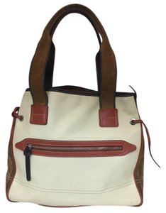 Hogan Nylon Leather Silver Hardware Tote in ivory, tan, burnt red