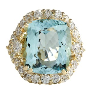 Fashion Strada 13.13 Carat Natural Aquamarine 14K Yellow Gold Diamond Ring