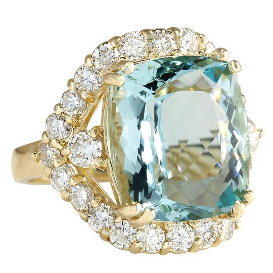 Fashion Strada 13.13 Carat Natural Aquamarine 14K Yellow Gold Diamond Ring Image 1