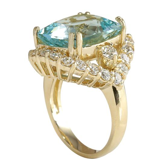Fashion Strada 13.13 Carat Natural Aquamarine 14K Yellow Gold Diamond Ring Image 2