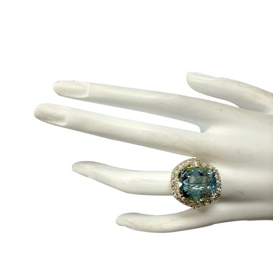 Fashion Strada 13.13 Carat Natural Aquamarine 14K Yellow Gold Diamond Ring Image 3