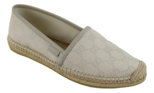 Gucci 385690 Leather Espadrille White Flats