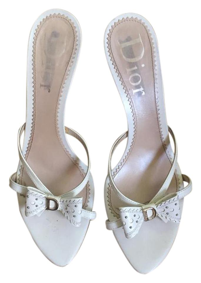 bf1a4c9bc6c Dior White Christian Bow Sandals  Pumps Leather Heels Sandals Size ...