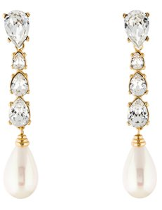 Dior Gold-tone Christian Dior pearl crystal drop earrings