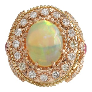 Fashion Strada 7.71 Carat Natural Opal Ruby 14K Yellow Gold Diamond Ring