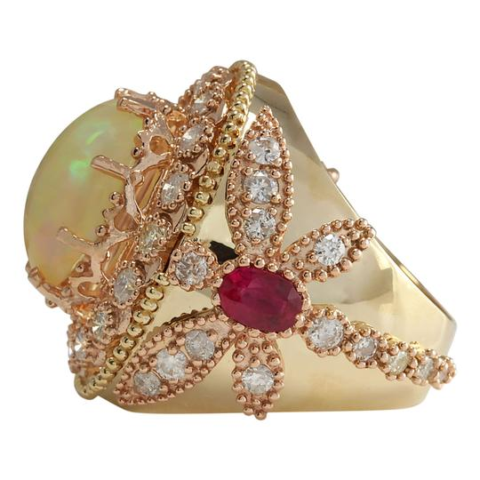 Fashion Strada 7.71 Carat Natural Opal Ruby 14K Yellow Gold Diamond Ring Image 1