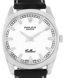 Rolex Rolex Cellini Danaos White Gold White Dial Black Strap Mens Watch 4243
