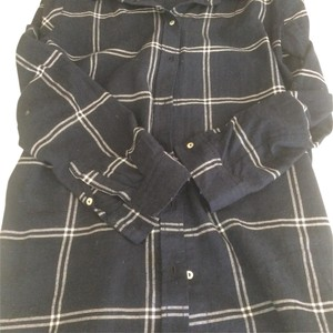 H&M Button Down Shirt navy and white