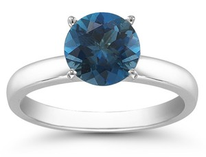 Apples of Gold London Blue Topaz Gemstone Solitaire Ring in 14K White Gold