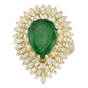 Fashion Strada 7.82 Carat Natural Emerald 14K Yellow Gold Diamond Ring