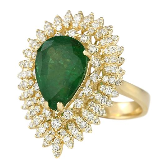 Fashion Strada 7.82 Carat Natural Emerald 14K Yellow Gold Diamond Ring Image 1