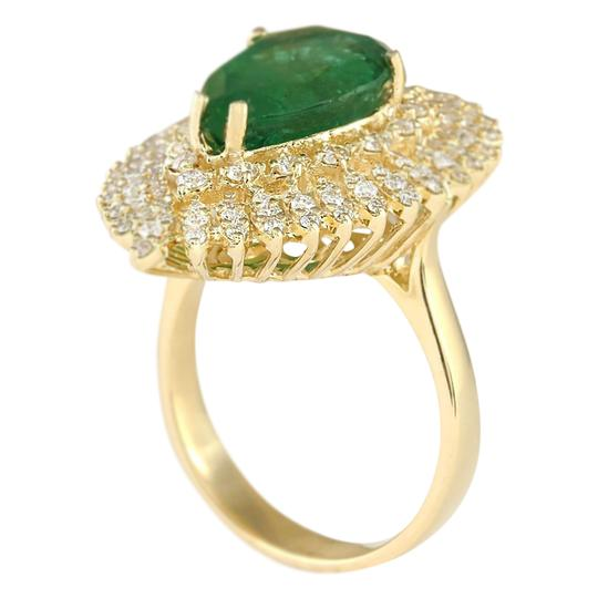 Fashion Strada 7.82 Carat Natural Emerald 14K Yellow Gold Diamond Ring Image 2
