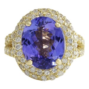 Fashion Strada 8.54 CTW Natural Tanzanite And Diamond Ring In 14K Yellow Gold