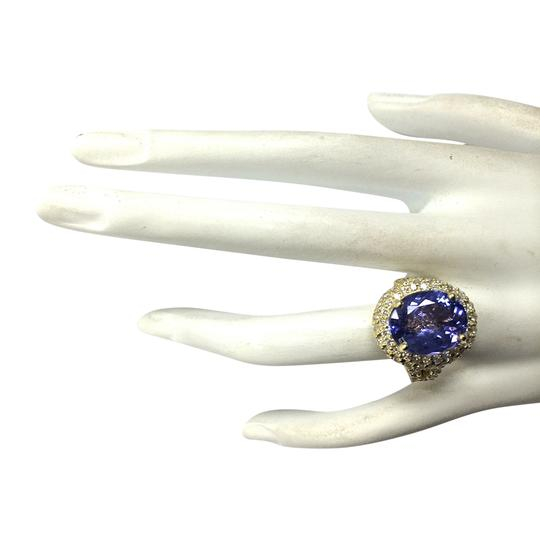 Fashion Strada 8.54 CTW Natural Tanzanite And Diamond Ring In 14K Yellow Gold Image 3
