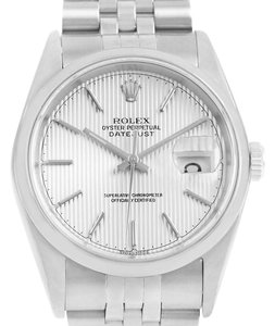 Rolex Rolex Datejust Silver Tapestry Dial Steel Mens Watch 16200