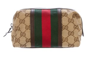 Gucci Brown, tan GG web monogram canvas Gucci cosmetic bag