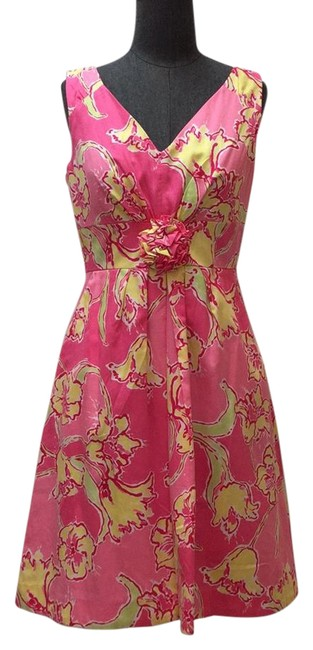 Preload https://img-static.tradesy.com/item/21378316/lilly-pulitzer-multi-pink-yellow-and-lime-floral-cotton-printed-sleeveless-short-casual-dress-size-6-0-1-650-650.jpg