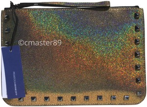 Rebecca Minkoff Studded Hologram Iridescent Wristlet in Rainbow Gold