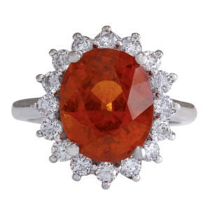 Fashion Strada 9.26Ct Natural Mandarin Garnet And Diamond Ring In14K White Gold