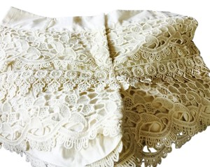 Ann Taylor LOFT Lined Colored Lace Never Worn Tags Mini/Short Shorts cream