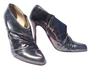 Christian Louboutin Rouched Metallic Patent Leather Silver Boots