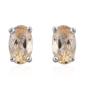 Imperial Topaz Imperial Topaz Platinum Over Sterling Silver Stud Earrings TGW 0.52 ct