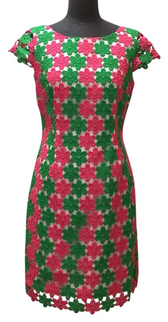 Preload https://img-static.tradesy.com/item/21378645/lilly-pulitzer-pink-and-green-cap-sleeve-cotton-lace-sleeve-sheath-short-casual-dress-size-6-s-0-1-650-650.jpg