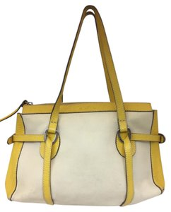 Hogan Nylon Leather Silver Hardware Tote in ivory,yellow