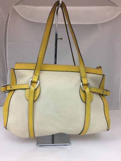 Hogan Nylon Leather Silver Hardware Tote in ivory,yellow Image 1