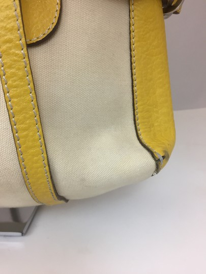 Hogan Nylon Leather Silver Hardware Tote in ivory,yellow Image 2