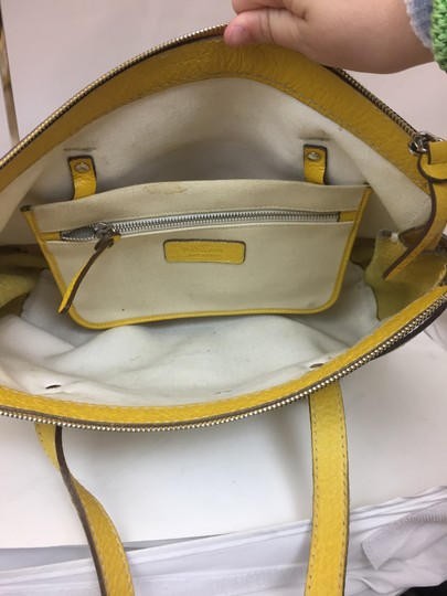 Hogan Nylon Leather Silver Hardware Tote in ivory,yellow Image 3