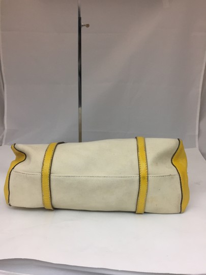Hogan Nylon Leather Silver Hardware Tote in ivory,yellow Image 4
