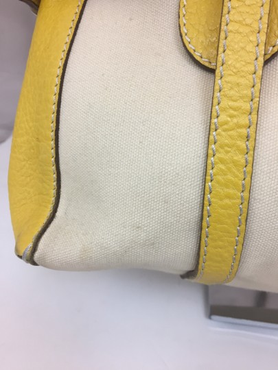 Hogan Nylon Leather Silver Hardware Tote in ivory,yellow Image 5