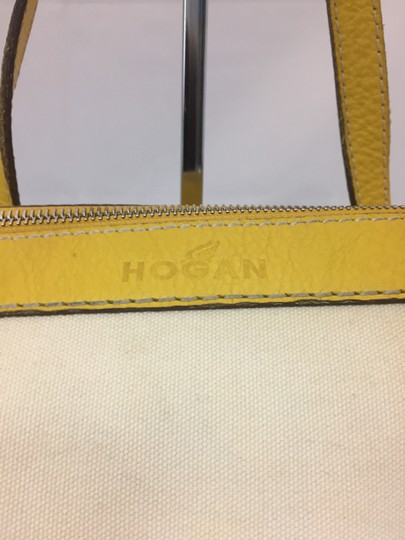 Hogan Nylon Leather Silver Hardware Tote in ivory,yellow Image 7