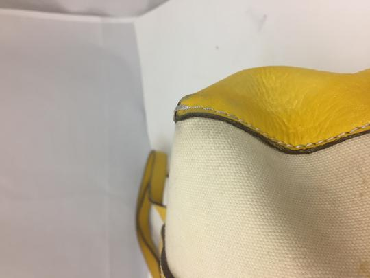 Hogan Nylon Leather Silver Hardware Tote in ivory,yellow Image 8