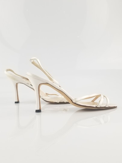 Manolo Blahnik Satin Strappy Dye-able White Sandals