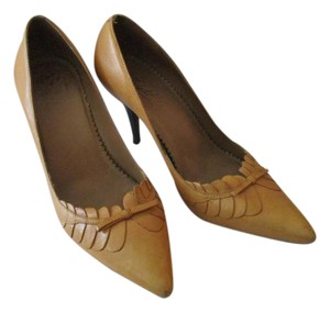 Miss Albright Vintage Wood Stacked Heels Made In Brazil Butterscotch Pumps