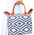 Tribe Alive Designed By Women Made By Women Tote in Cream and Blue with Tan Leather