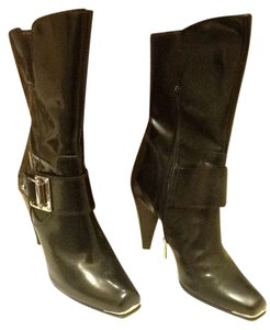 Donald J. Pliner Zipper Mid-calf Calf Leather Polished Silver Hardware Black Boots