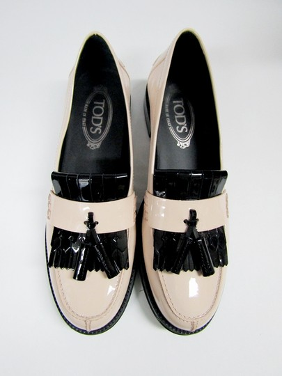 Tod's Loafers Moccasins Patent Leather Fringe Tassels nude/black Flats Image 5