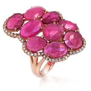 Luxo Jewelry Fancy Rose Cut Multi Pink Sapphires & Diamonds 14K Rose Gold Ring 7
