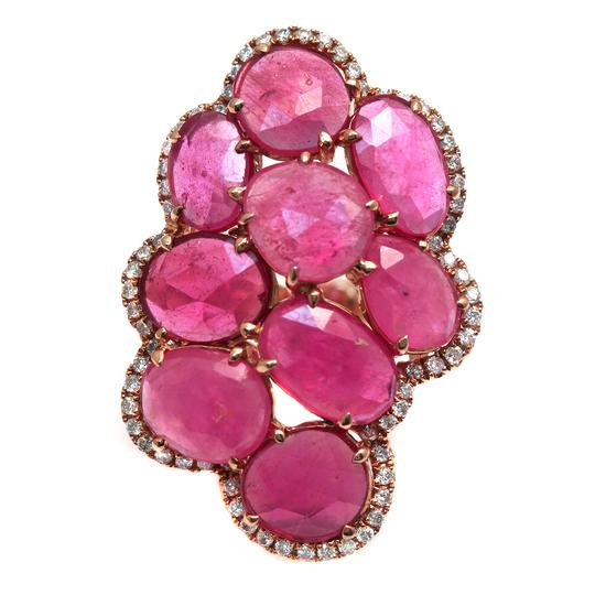 Luxo Jewelry Fancy Rose Cut Multi Pink Sapphires & Diamonds 14K Rose Gold Ring 7 Image 1